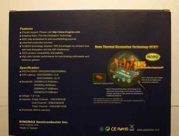 Kingmax DDR3-1600 CL9 2x2GB nano gaming RAM