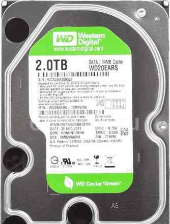 Жесткий диск WD Caviar Green WD20ears, 2Тб, HDD