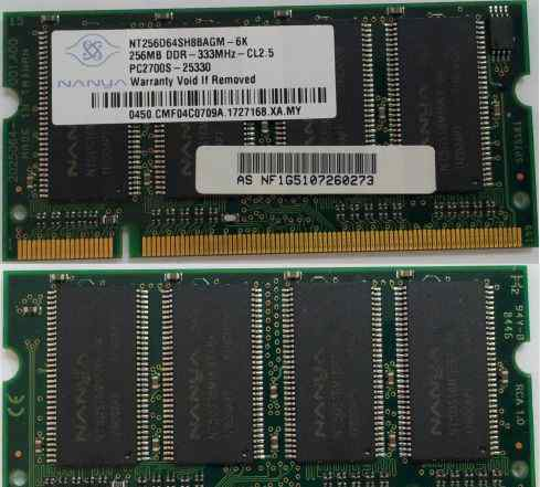 SO-dimm 256 MB DDR 333 MHz PC2700S 200-Pin