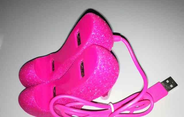 USB HAB 4 port хаб Розовые туфли