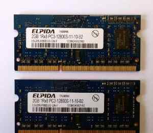 2 модуля памяти sodimm DDR3 2GB 1600 MHz Elpida