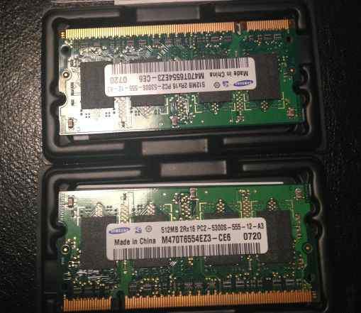 2x512Mb модуля памяти Samsung DDR2 для ноутбука