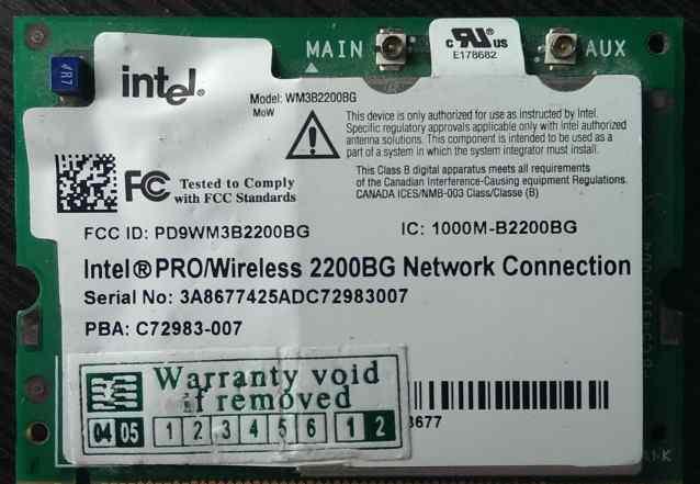 Intel PRO/Wireless 2200BG Wi-Fi Mini PCI Card