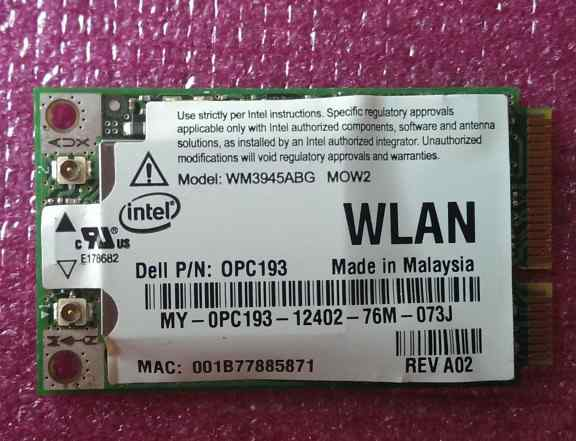 Wi-Fi Mini PCIe Wireless Card Intel 3945ABG
