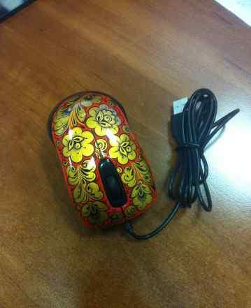Мышь подарочная, сувенирная, хохлома