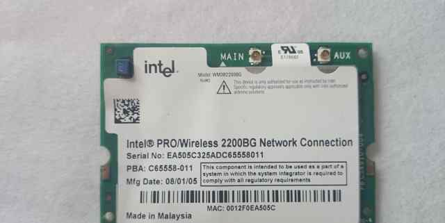 Intel pro/wireless 2200bg network connection