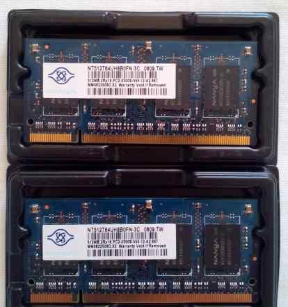 DDR2 для ноутбука 1Gb (2x512Mb) NT512T64UH8B0FN-3C