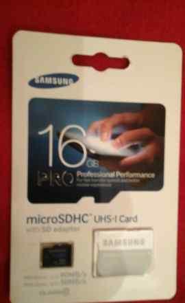 Карта памяти Samsung 16 GB с адаптером SD