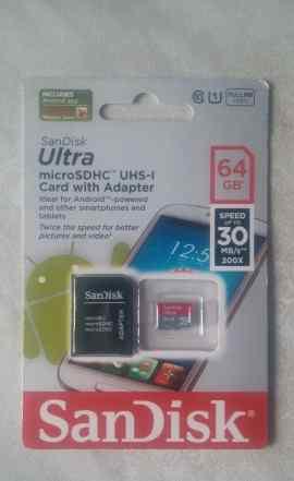 Карта памяти SanDisk Ultra 64 Gb microsdhc UHS-1