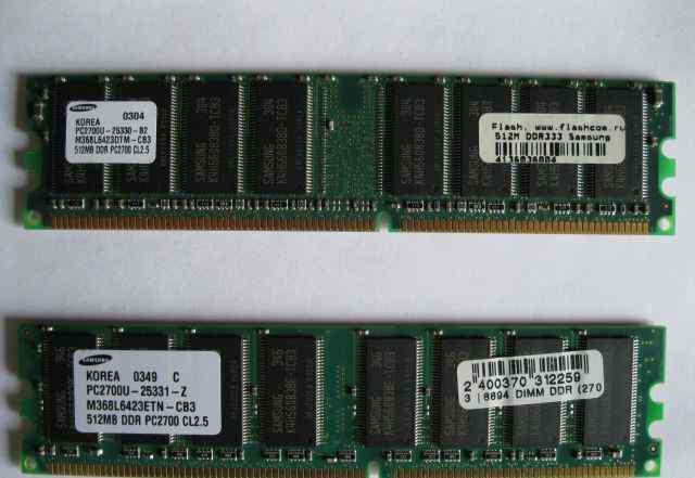 2 Блока памяти Samsung DDR 512MB + DDR 256MB