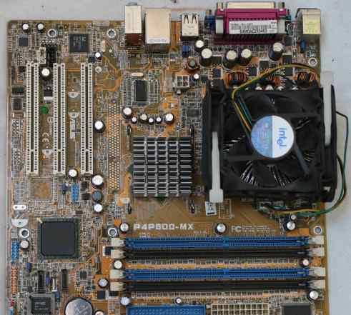 Asus P4P800-MX с процессором и кулером