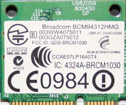 Broadcom Wi-Fi mini PCI адаптер для ноутбука