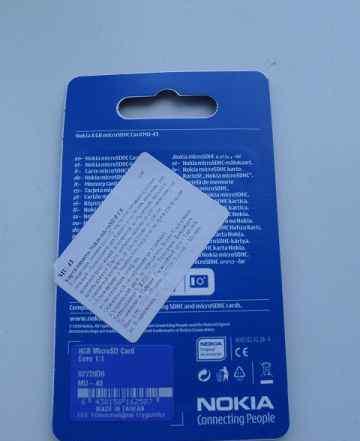 Карта памяти microsdhc Nokia 8 гб, Class 4