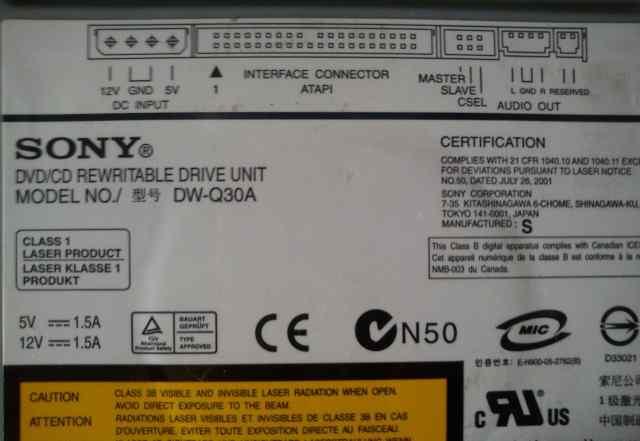 Привод cd rom dvd rom sony DVD RW DW-Q30A