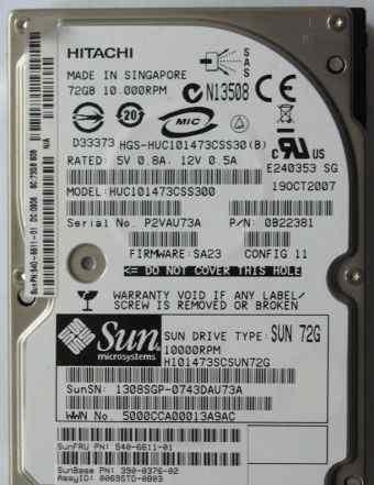 Жёсткий диск Hitachi. Интерфейс SAS. Объём 72Gb