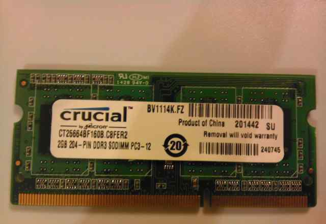 Модуль памяти sodimm DDR3 2GB Crucial CT25664BF160