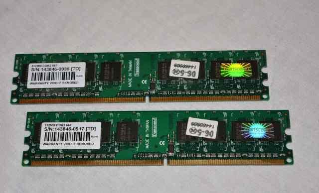 Озу 512Мб x2 DDR2 667 PC25300