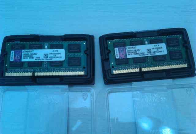 2 планки памяти для ноутбука Kingston по 4Гб