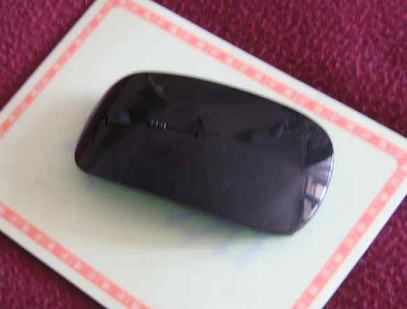 Беспроводная черная тонкая мышка глянцевая