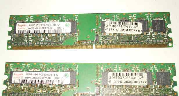 Dimm DDR2 (5300) 512Mb Samsung. 2 шт