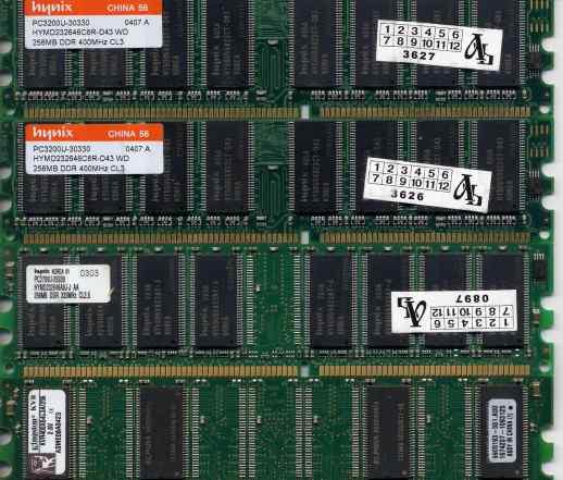 Dimm DDR 256 Мб 4 модуля