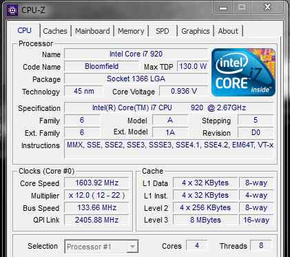 Intel Core i7-920 Bloomfield LGA 1366