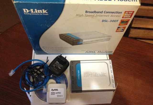 Adsl модем D-Link DSL-300T + сплиттер