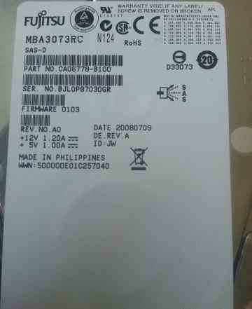 HDD 73.5 Gb SAS Fujitsu MBA 3073RC