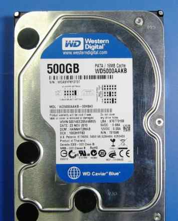 WD5000aakb, 500Гб, HDD, IDE, 3.5