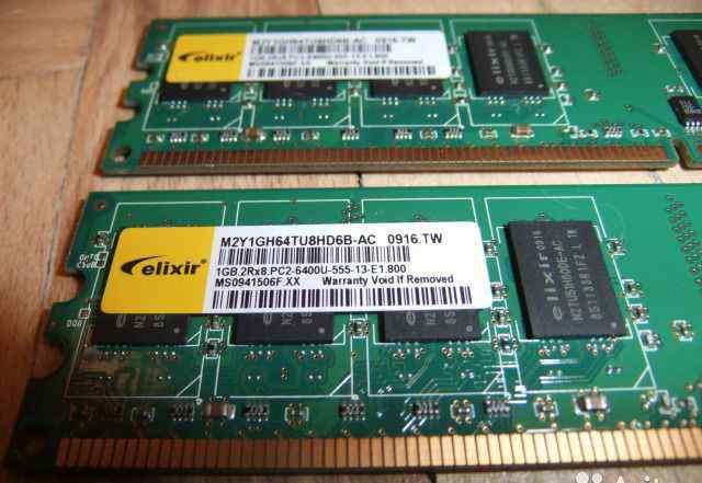 RAM 1 Gb DDR-II Elixir PC2-6400, 2 планки