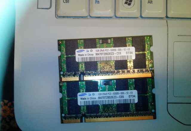 Память Samsung 2x1GB DDR2 PC5300 SO-dimm
