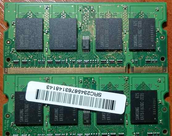 Samsung SO-dimm DDR2 512MB PC2-4200S-444 - 2шт