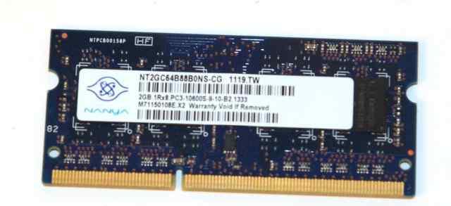 Память SO-dimm 2GB DDR3 1333 MHz (PC3-10600) Hanya