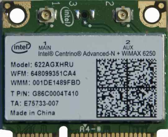 Intel Centrino Advanced-N + wimax 6250 622agxhru