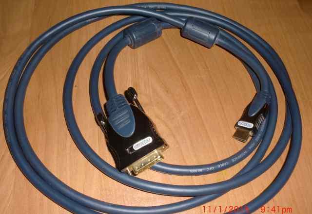 Кабель-переходник hdmi-DVI Premier, 3 м, новый