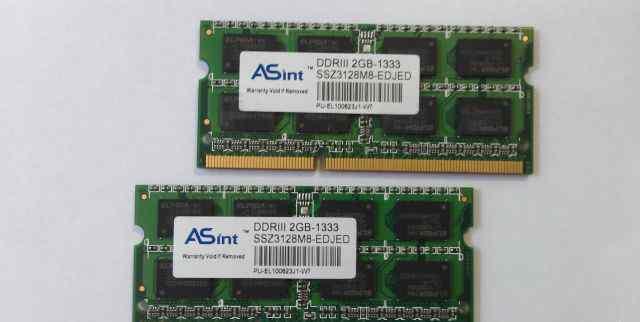 Модули памяти для ноутбука DDR3 1333Mhz 2Gb