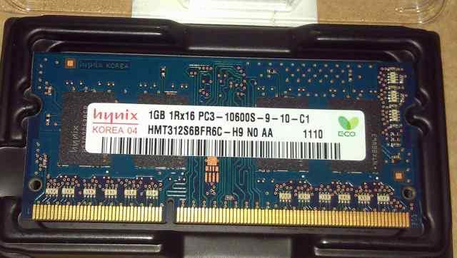 DDR3 SO-dimm 1gb PC10600 2 штуки
