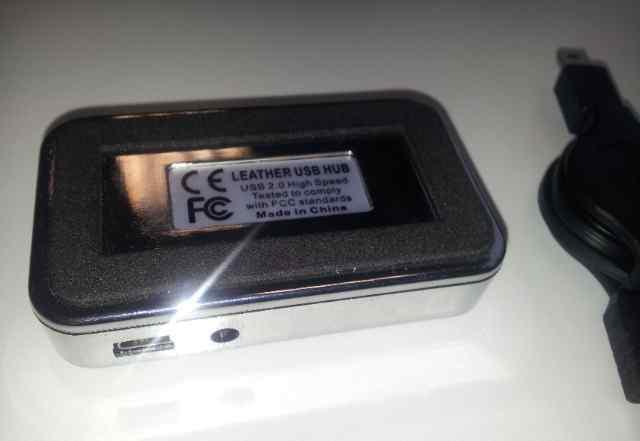 USB hub 4 ports кожа