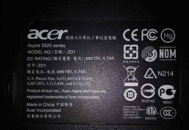 Запчасти для Acer Aspire 5920 ZD1