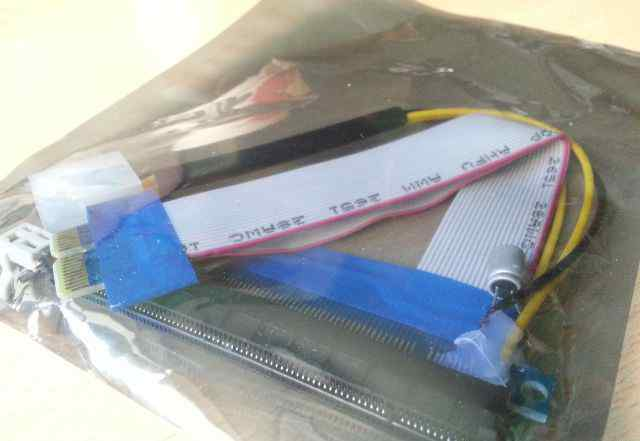 Райзер карта PCI-E x1-x16 c питанием molex, 20 см