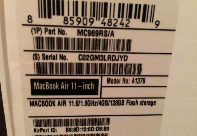MacBook Air (11-inch, Mid 2011) 128Gb