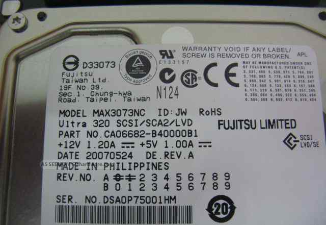 HDD 3.5 для Сервера Fujitsu MAX3073NC