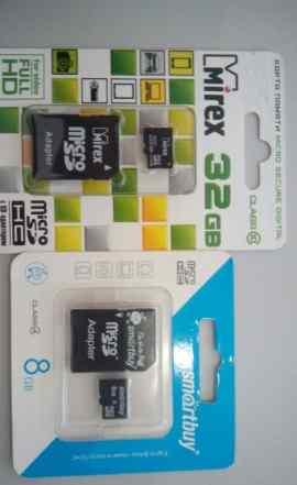 Карты памяти MicroSD 32 gb 10 class и 8gb 4 class