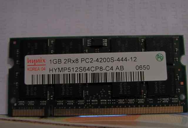 Для ноутбука 2 планки Hynix 1GB 2RX8 pc2-4200u-444