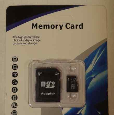 Карта памяти микро SD c адаптером SD