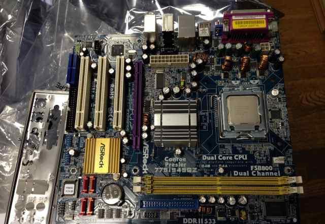 Мат. плата ASRock 775i945GZ + Intel Pentium E2200