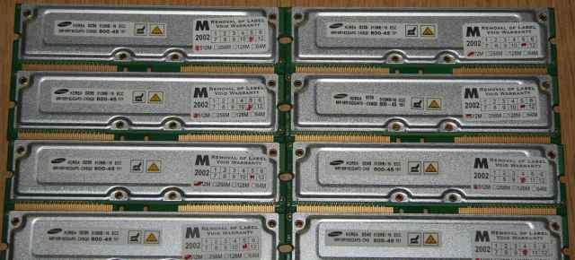 8 планок rimm Samsung 512Mb ecc