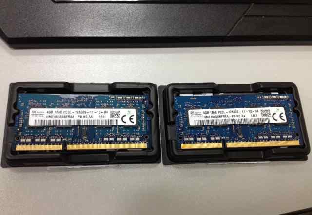 2 Модуля 4гб DDR3 1600мгц hynix напряжение 1.35 В
