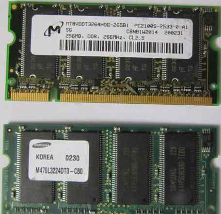 So-dimm 256 mb DDR PC-2100 266 Mhz для ноутбука